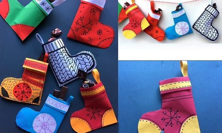 Як зробити новорічну шкарпетку з паперу (фото + відео + безкоштовний шаблон)