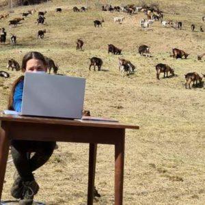 Онлайн-уроки на природі: 10-річна дівчинка з Італії навчається дистанційно в горах – фото