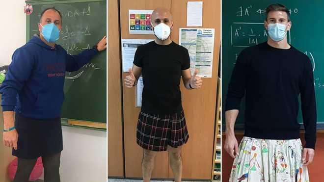 В Іспанії вчителі-чоловіки прийшли до школи у спідницях: протестують через виключення учня